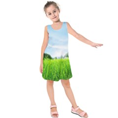 Green Landscape Green Grass Close Up Blue Sky And White Clouds Kids  Sleeveless Dress