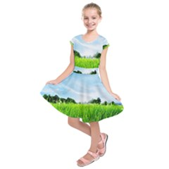 Green Landscape Green Grass Close Up Blue Sky And White Clouds Kids  Short Sleeve Dress