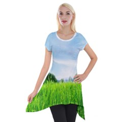 Green Landscape Green Grass Close Up Blue Sky And White Clouds Short Sleeve Side Drop Tunic