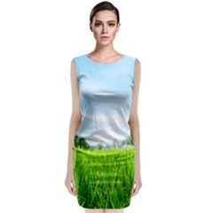 Green Landscape Green Grass Close Up Blue Sky And White Clouds Sleeveless Velvet Midi Dress