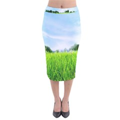 Green Landscape Green Grass Close Up Blue Sky And White Clouds Velvet Midi Pencil Skirt