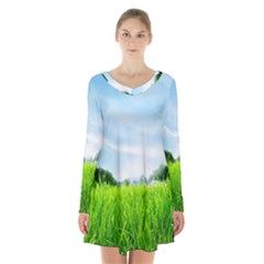 Green Landscape Green Grass Close Up Blue Sky And White Clouds Long Sleeve Velvet V Neck Dress