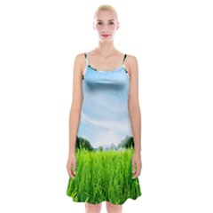 Green Landscape Green Grass Close Up Blue Sky And White Clouds Spaghetti Strap Velvet Dress