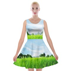 Green Landscape Green Grass Close Up Blue Sky And White Clouds Velvet Skater Dress