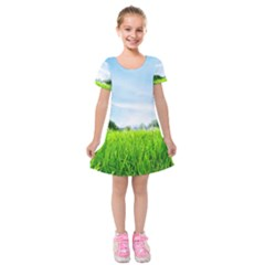 Green Landscape Green Grass Close Up Blue Sky And White Clouds Kids  Short Sleeve Velvet Dress