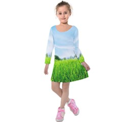 Green Landscape Green Grass Close Up Blue Sky And White Clouds Kids  Long Sleeve Velvet Dress