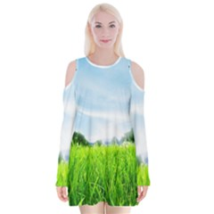 Green Landscape Green Grass Close Up Blue Sky And White Clouds Velvet Long Sleeve Shoulder Cutout Dress