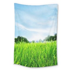 Green Landscape Green Grass Close Up Blue Sky And White Clouds Large Tapestry