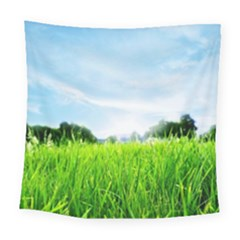 Green Landscape Green Grass Close Up Blue Sky And White Clouds Square Tapestry (large)