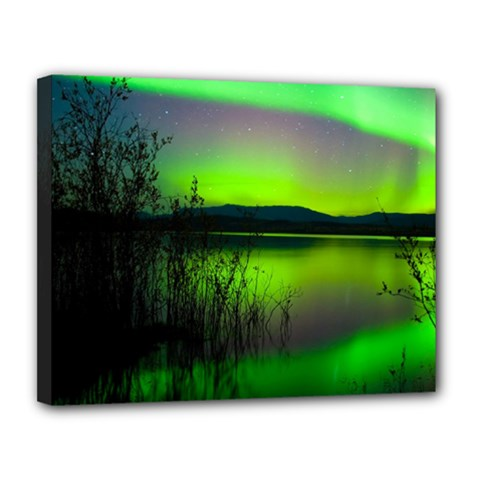 Green Northern Lights Canada Canvas 14  X 11