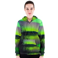 Green Northern Lights Canada Women s Zipper Hoodie