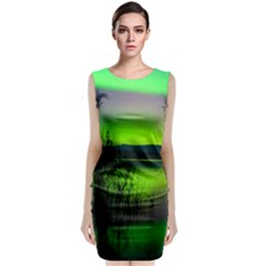 Green Northern Lights Canada Sleeveless Velvet Midi Dress