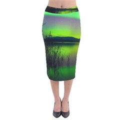 Green Northern Lights Canada Velvet Midi Pencil Skirt