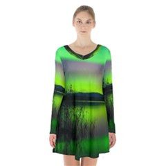 Green Northern Lights Canada Long Sleeve Velvet V Neck Dress