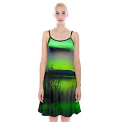 Green Northern Lights Canada Spaghetti Strap Velvet Dress