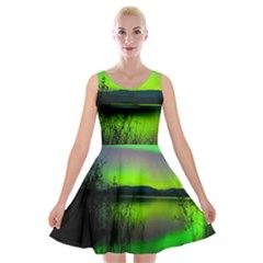 Green Northern Lights Canada Velvet Skater Dress