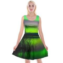 Green Northern Lights Canada Reversible Velvet Sleeveless Dress
