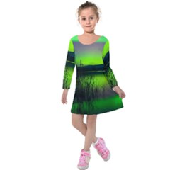 Green Northern Lights Canada Kids  Long Sleeve Velvet Dress