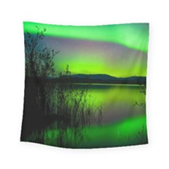 Green Northern Lights Canada Square Tapestry (small)