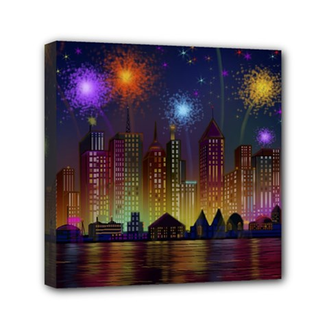 Happy Birthday Independence Day Celebration In New York City Night Fireworks Us Mini Canvas 6  X 6