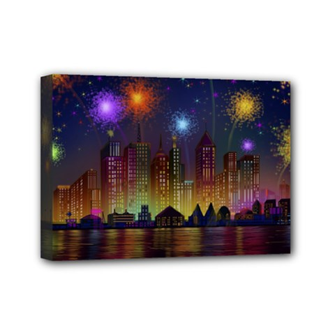 Happy Birthday Independence Day Celebration In New York City Night Fireworks Us Mini Canvas 7  X 5