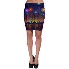 Happy Birthday Independence Day Celebration In New York City Night Fireworks Us Bodycon Skirt
