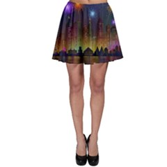 Happy Birthday Independence Day Celebration In New York City Night Fireworks Us Skater Skirt