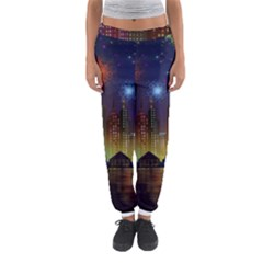 Happy Birthday Independence Day Celebration In New York City Night Fireworks Us Women s Jogger Sweatpants