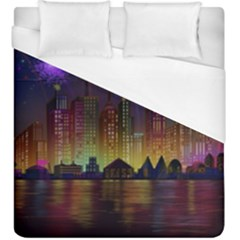 Happy Birthday Independence Day Celebration In New York City Night Fireworks Us Duvet Cover (king Size)