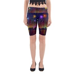 Happy Birthday Independence Day Celebration In New York City Night Fireworks Us Yoga Cropped Leggings