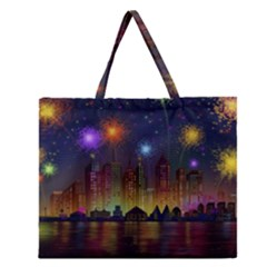 Happy Birthday Independence Day Celebration In New York City Night Fireworks Us Zipper Large Tote Bag