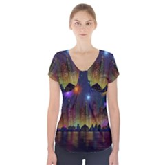 Happy Birthday Independence Day Celebration In New York City Night Fireworks Us Short Sleeve Front Detail Top