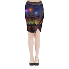 Happy Birthday Independence Day Celebration In New York City Night Fireworks Us Midi Wrap Pencil Skirt
