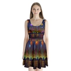 Happy Birthday Independence Day Celebration In New York City Night Fireworks Us Split Back Mini Dress