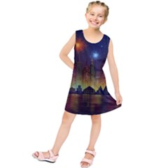 Happy Birthday Independence Day Celebration In New York City Night Fireworks Us Kids  Tunic Dress