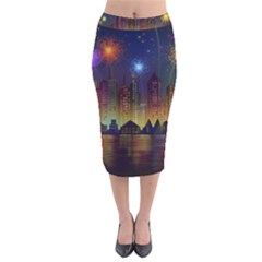 Happy Birthday Independence Day Celebration In New York City Night Fireworks Us Velvet Midi Pencil Skirt