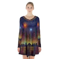 Happy Birthday Independence Day Celebration In New York City Night Fireworks Us Long Sleeve Velvet V Neck Dress