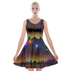 Happy Birthday Independence Day Celebration In New York City Night Fireworks Us Velvet Skater Dress