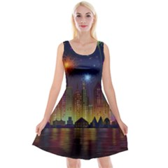 Happy Birthday Independence Day Celebration In New York City Night Fireworks Us Reversible Velvet Sleeveless Dress