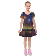 Happy Birthday Independence Day Celebration In New York City Night Fireworks Us Kids  Short Sleeve Velvet Dress