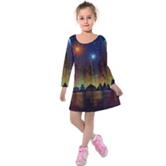 Happy Birthday Independence Day Celebration In New York City Night Fireworks Us Kids  Long Sleeve Velvet Dress