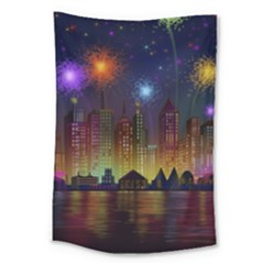 Happy Birthday Independence Day Celebration In New York City Night Fireworks Us Large Tapestry