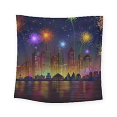Happy Birthday Independence Day Celebration In New York City Night Fireworks Us Square Tapestry (Small)