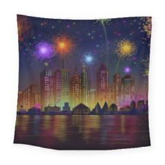 Happy Birthday Independence Day Celebration In New York City Night Fireworks Us Square Tapestry (large)