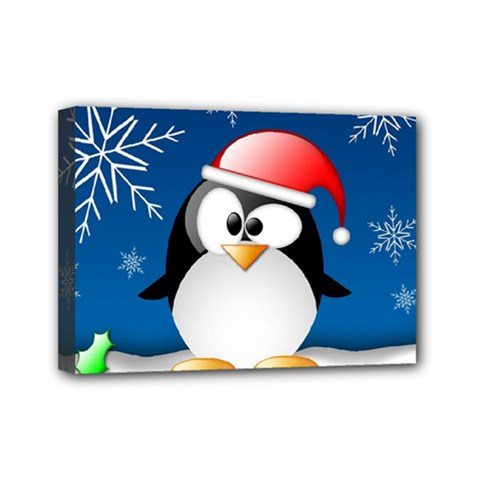 Happy Holidays Christmas Card With Penguin Mini Canvas 7  X 5