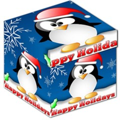 Happy Holidays Christmas Card With Penguin Storage Stool 12