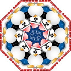 Happy Holidays Christmas Card With Penguin Golf Umbrellas