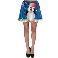 Happy Holidays Christmas Card With Penguin Skater Skirt