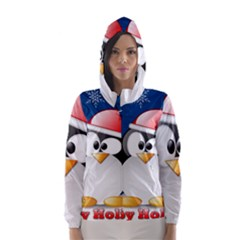 Happy Holidays Christmas Card With Penguin Hooded Wind Breaker (women)