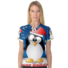 Happy Holidays Christmas Card With Penguin Women s V Neck Sport Mesh Tee